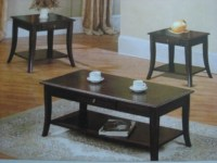 3394 Dark Brown Wood Coffee Table + 2 End Tables Set ...