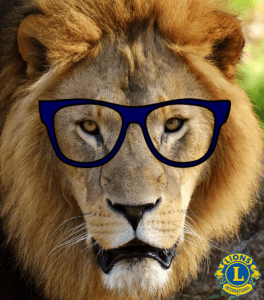 Lion wearing eyeglasses for Recycle for Sight