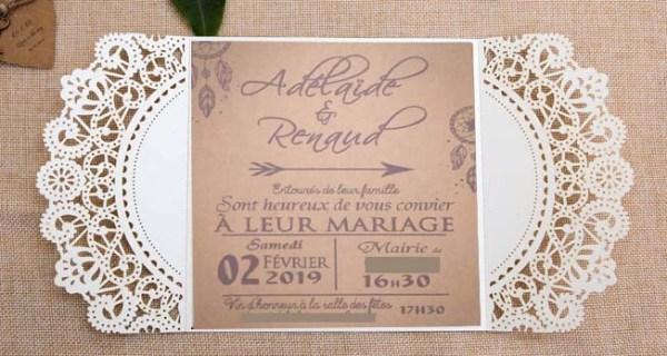 Faire-part mariage pochette ciselée attrape reves dreamcatcher
