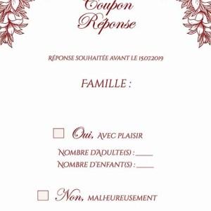 coupon-réponse mariage pochette ciselée fleurs bordeaux