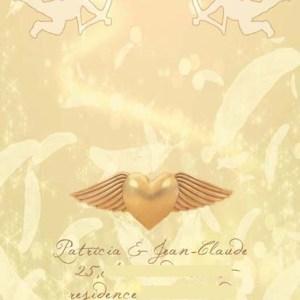 faire-part mariage ange coeur doré plume