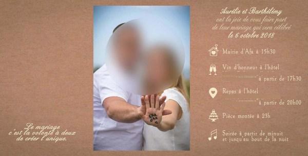 faire-part mariage champetre kraft