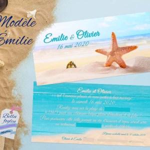 faire-part mariage plage mer sable étoile de mer