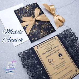 faire-part mariage pochette ciselée dentelle gold bleu navy