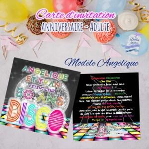 Carte d'invitation anniversaire disco