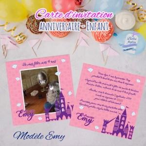 Carte d'invitation anniversaire princesse