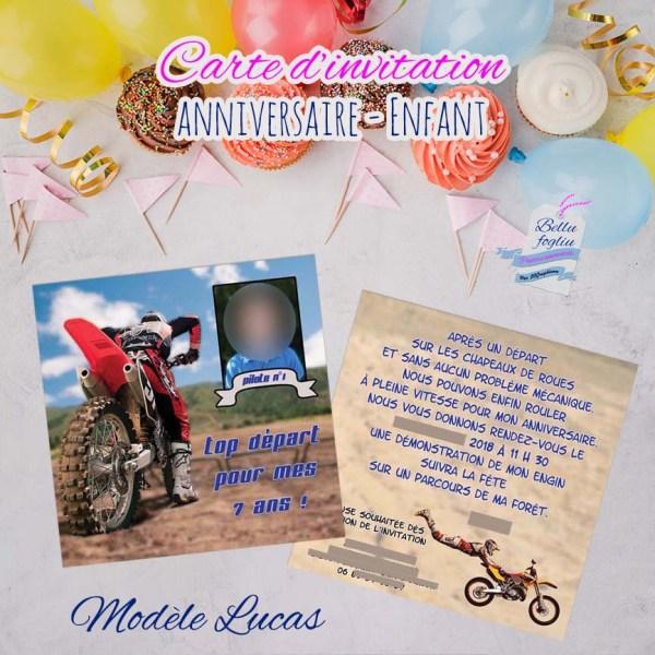 Carte d'invitation anniversaire motocross
