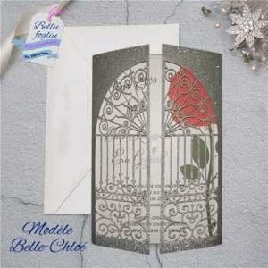 Faire-part mariage Belle bete rose disney pochette ciselée