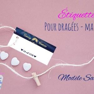 Étiquette pour dragées mariage perforée ou autocollante