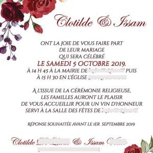 faire-part mariage pochette ciselée fleurs rouge
