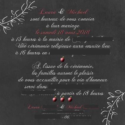 faire-part mariage disney blanche neige pomme