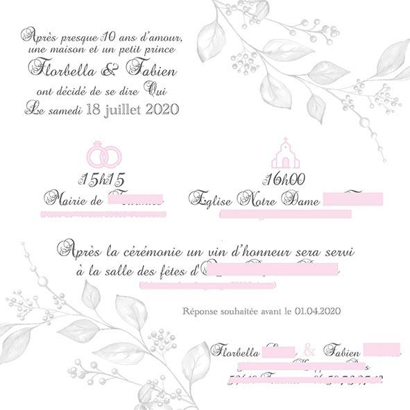 faire-part mariage fleurs gris rose blanc
