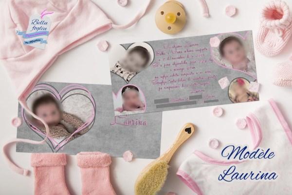 faire-part naissance rose gris coeur