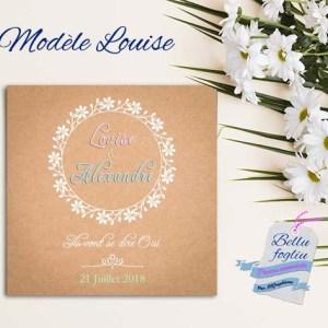 faire-part mariage couronne de fleurs couleurs pastel et kraft