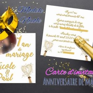 Carte d'invitation anniversaire mariage