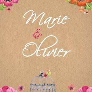 faire-part mariage kraft et fleurs
