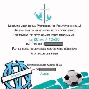 Faire-part de baptême club de foot