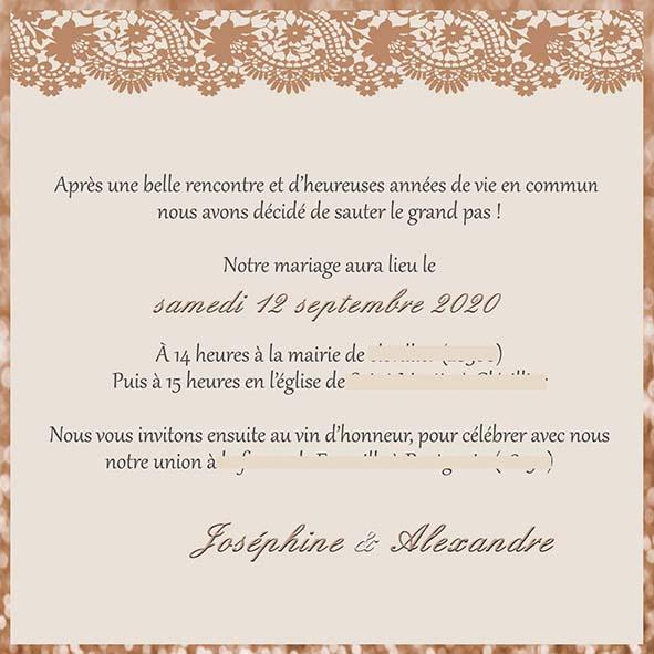 faire-part mariage pochette dentelle rose gold paillette