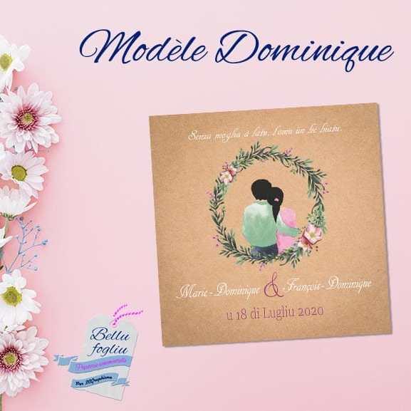 Faire-part mariage kraft couronne fleurs rose couple de dos