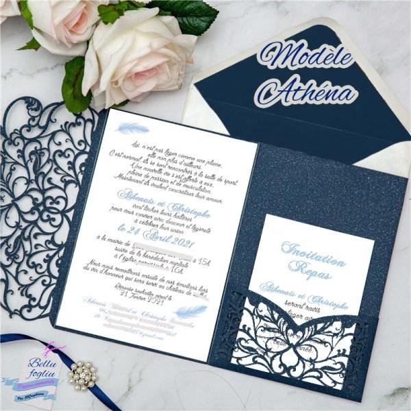 faire-part mariage pochette ciselée plume bleu