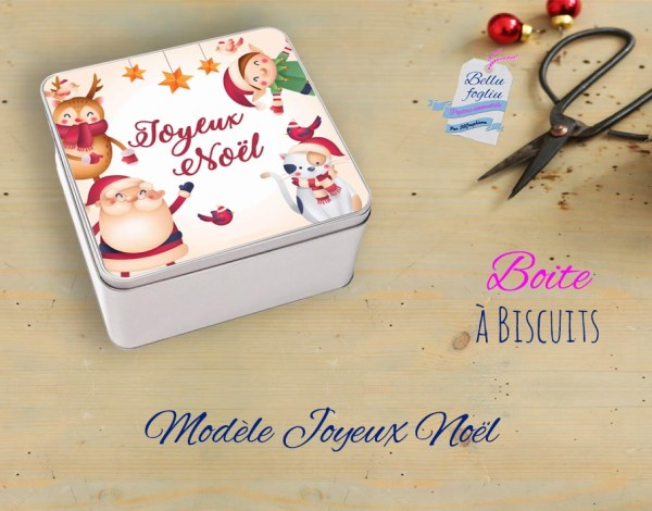 boite biscuits pere noel renne lutin chat