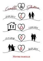 affiche famille corse silhouette noir blanc rouge coeur