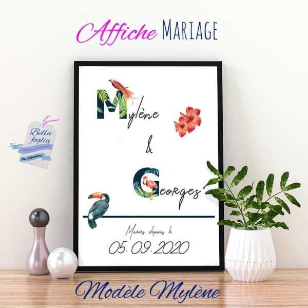 affiche mariage prénoms tropical oiseaux fleurs