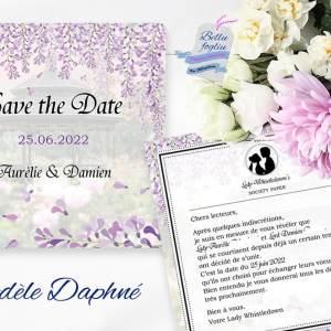 faire-part save the date mariage glycine whistledown bridgerton