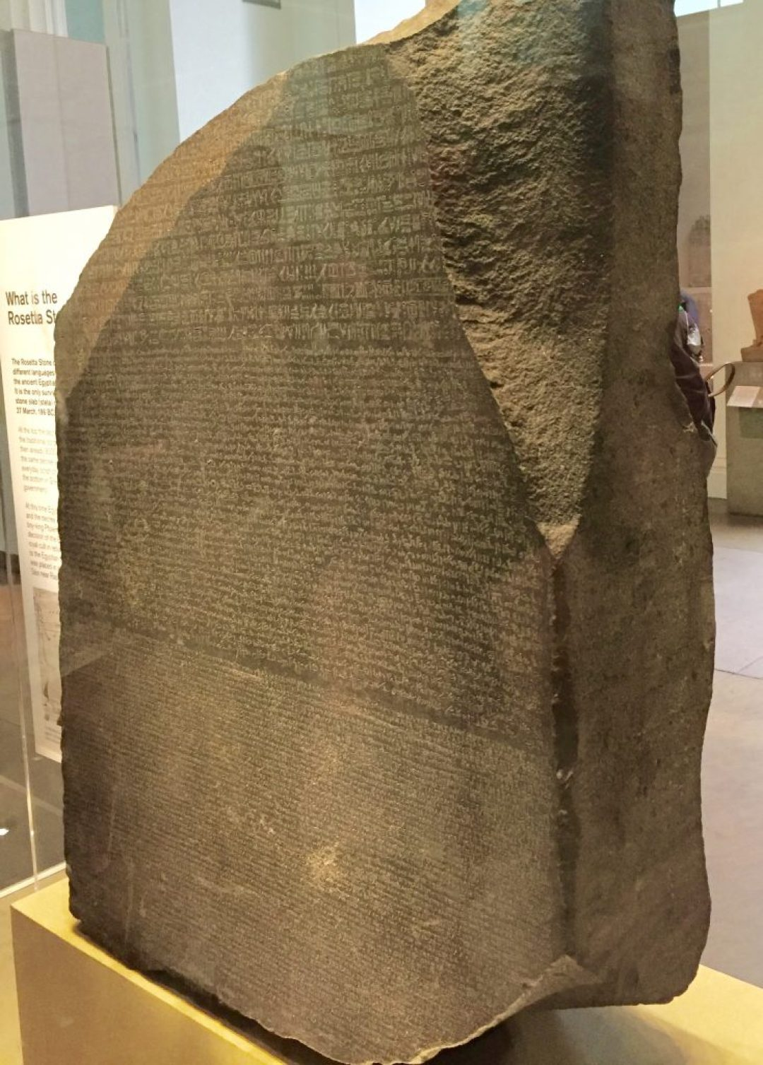 The Rosetta stone, which enabled Young and Champollion to decipher the Egyptian hieroglyphs.
