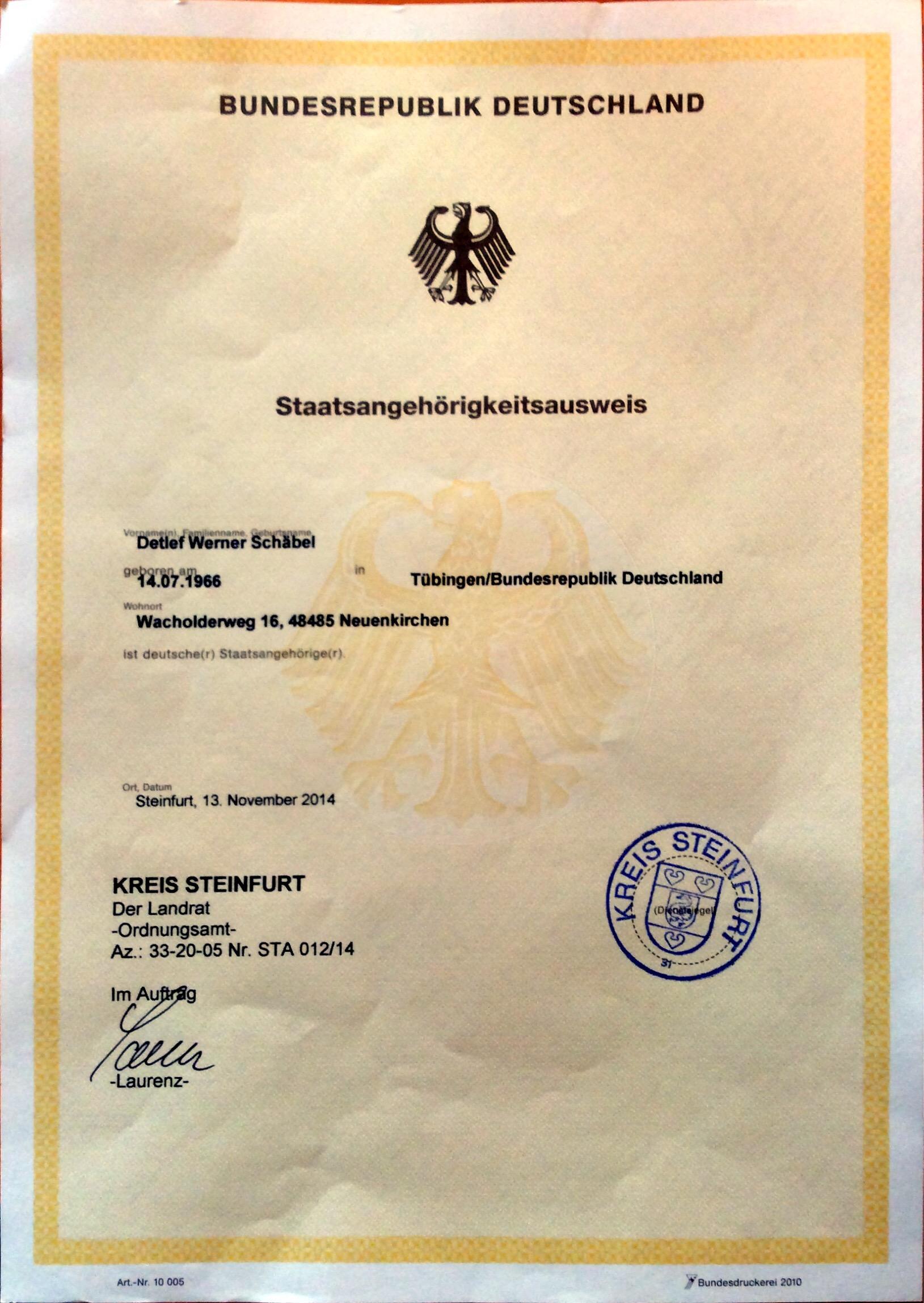 Staatsangehörigkeitsausweis eingetrudelt (gelber Schein) - Schäbels ...
