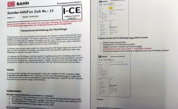 Anweisung der DB bzgl. Flüchtlingen
