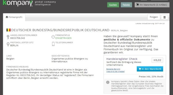 Deutscher Bundestag im belgischen Handelsregister
