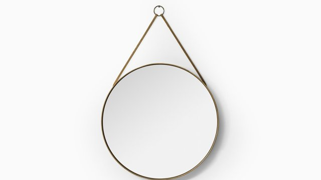 Round mirror in pine and leather by Glasmäster at Studio Schalling