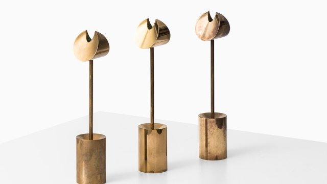 Pierre Forsell candlesticks in brass at Studio Schalling