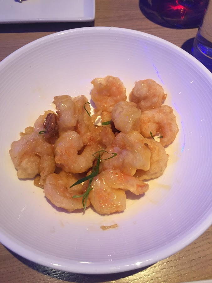 tempura rock shrimp, candied spiced walnuts, honey sauce - $16