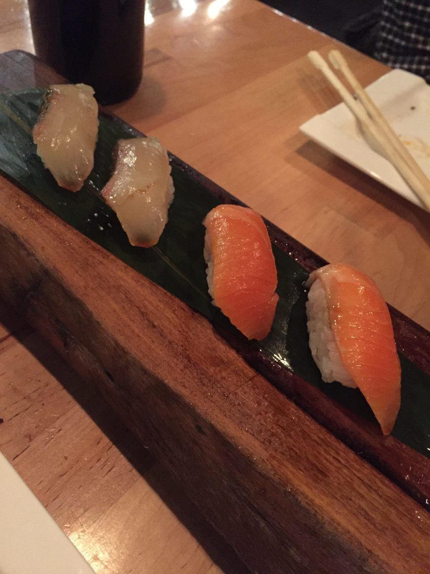 Here's the Ora Sake: king salmon, New Zealand & the Tako: octopus, Japan. YUM.