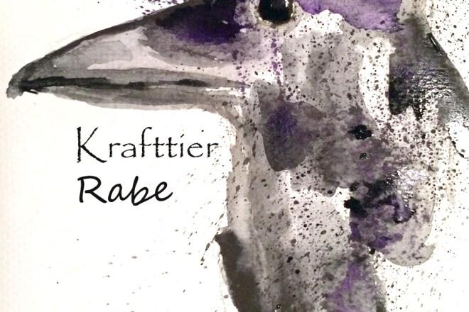 Krafttier Rabe, gemalt