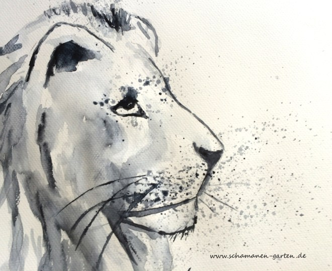 Krafttier Löwe, Aquarell