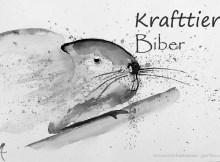 Krafttier Biber, schamanisches Krafttier, Bedeutung, schwarz-weiß Aquarellzeichnung