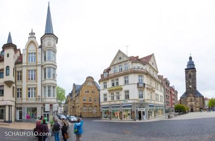 Bienenkörbchen-Sparkasse und Margaretenkirche.