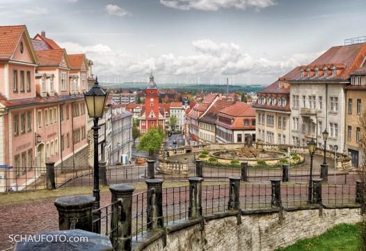 Stadtblick von der Auffahrt zur Schlossterrasse.