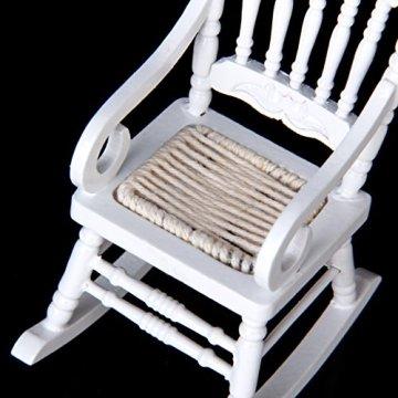 1/12 Miniatur Puppenhaus aus Holz Schaukelstuhl Modell Weiß -