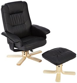 AMSTYLE Fernsehsessel COMFORT TV Design Relax-Sessel Wohnzimmer verstellbar Modern Bezug Kunstleder schwarz drehbar mit Hocker X-XL 110 kg mit Armlehnen und Hocker Gaming Sessel ohne Motor Kopfstütze -