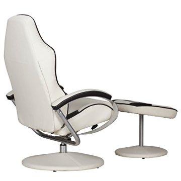 AMSTYLE Fernsehsessel SPORTING TV Design Relax-Sessel verstellbar Racing Modern Bezug Kunstleder creme / braun drehbar mit Hocker Racer X-XL 110 kg mit Armlehnen und Hocker Gaming Sessel ohne Motor -