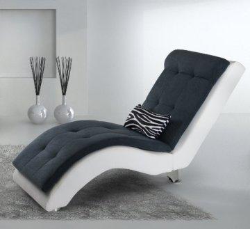 B-famous Relaxliege Mix 165 x 65 cm, Kunstleder-Microveloure, weiß-anthrazit -