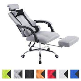 CLP Sportsitz Büro-Stuhl Relaxsessel FELLOW, belastbar 115 kg, Kopfstütze, Fußablage, höhenverstellbar 47 - 57 cm, Netzoptik Textilbezug grau -
