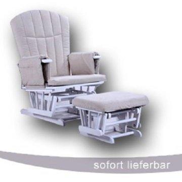 GLIDER Stillstuhl & Hocker Entspannungsstuhl Schaukelsessel Weiß Polster creme * NEU -