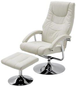 Moderner Relaxsessel Florida - Bezug: Kunstleder weiß - Gestell: Chrom - Maße in B/H/T: ca. 65x70x103 cm -