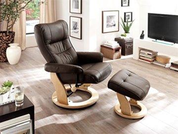 Robas Lund 64022BN5 Relaxsessel Montreal mit Hocker, Bezug: Leder braun, Gestell: Natur, 82 x 84-132 x 105 cm -