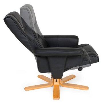 TecTake® TV Fernsehsessel Sessel kippbar drehbar Relaxsessel mit Hocker aus schwarzem Kunstleder mit Holzfüßen -